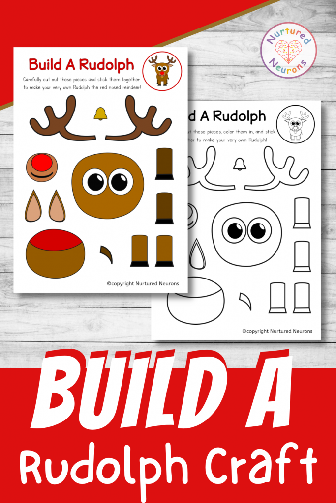 build a Rudolph craft printable for preschool and toddlers