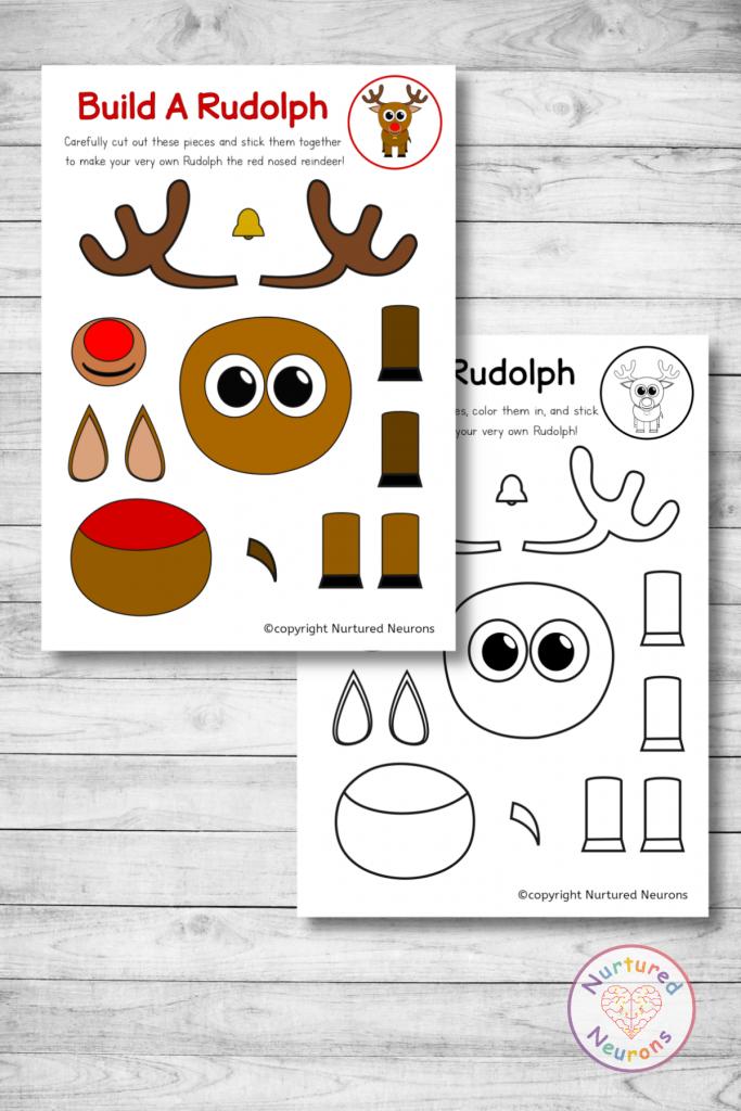 printable Rudolf the red nosed reindeer template (free preschool download)