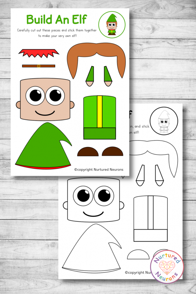 Free printable build an elf craft templates preschool toddlers