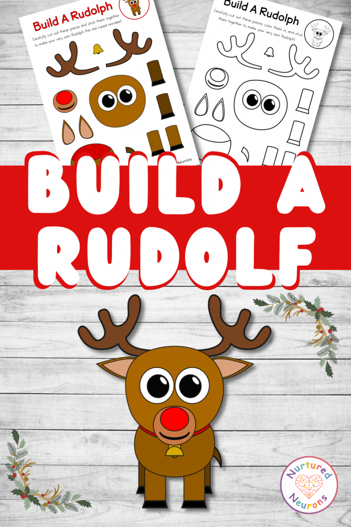 build a Rudolph craft printable for preschool and toddlers (1)