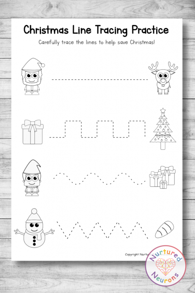 Christmas line tracing practice Sheets - trace the lines prewriting skills