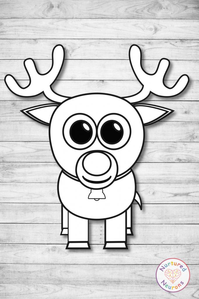 Free printable build a Rudolf craft templates preschool toddlers