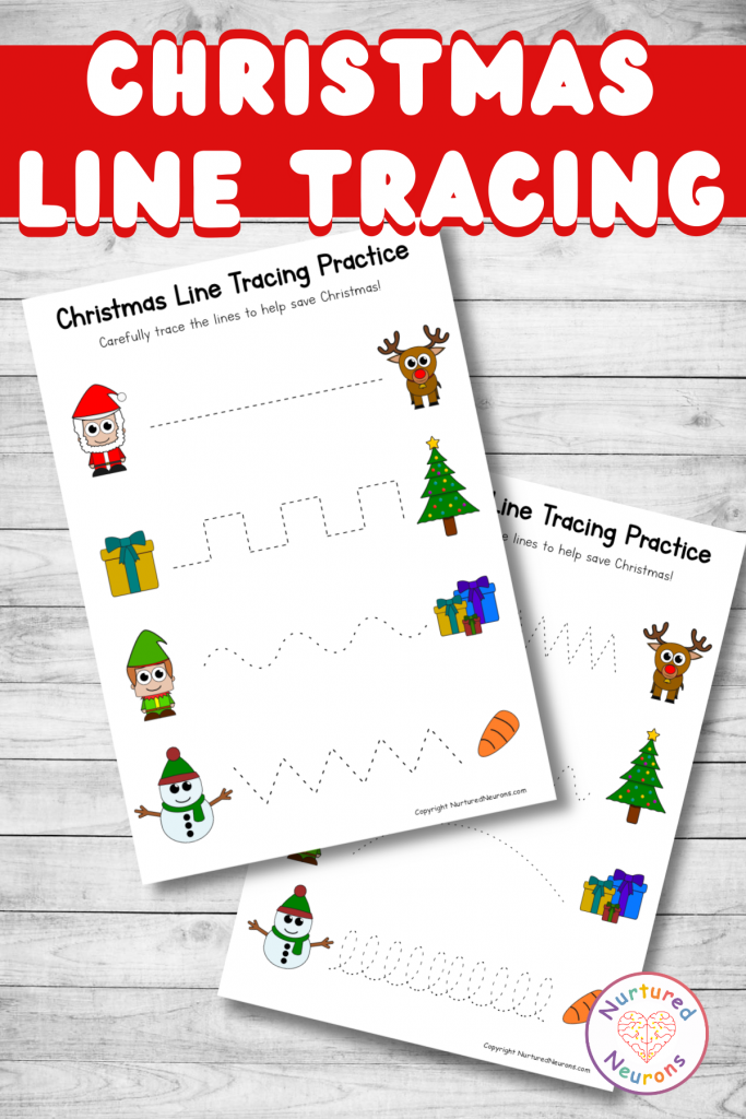 Christmas line tracing sheets prewriting practice for preschool (1)