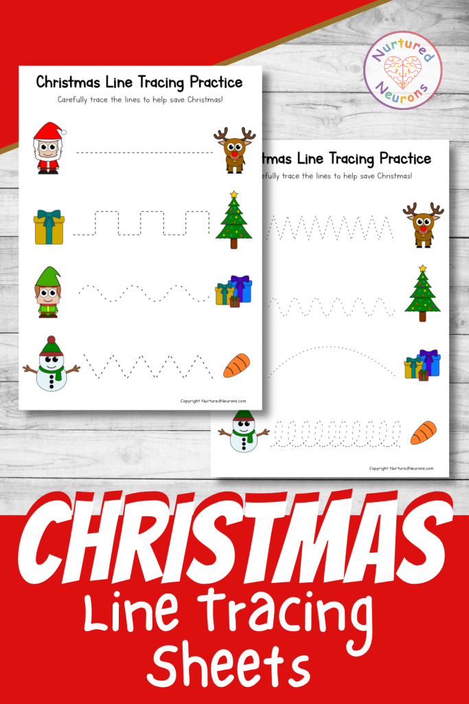 Christmas line tracing sheets prewriting practice for preschool