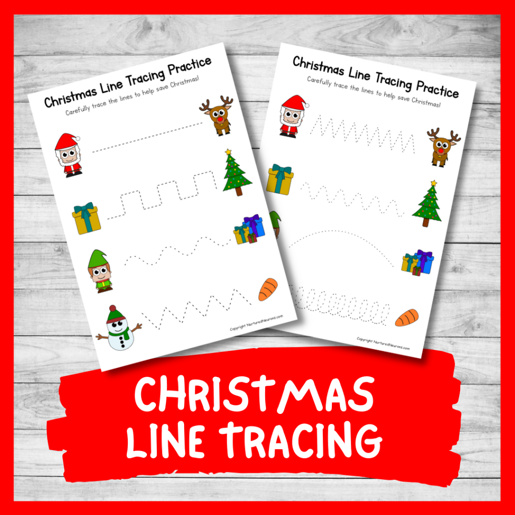 Christmas line tracing sheets - writing practice and pencil skills