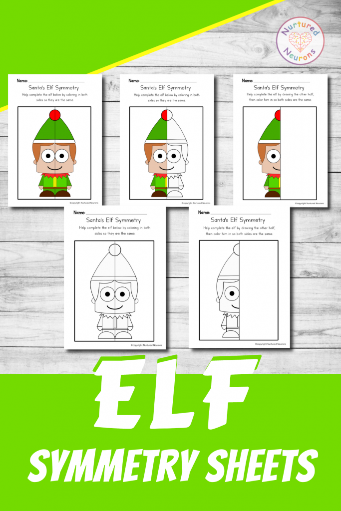 Elf Symmetry worksheets - Christmas math printable