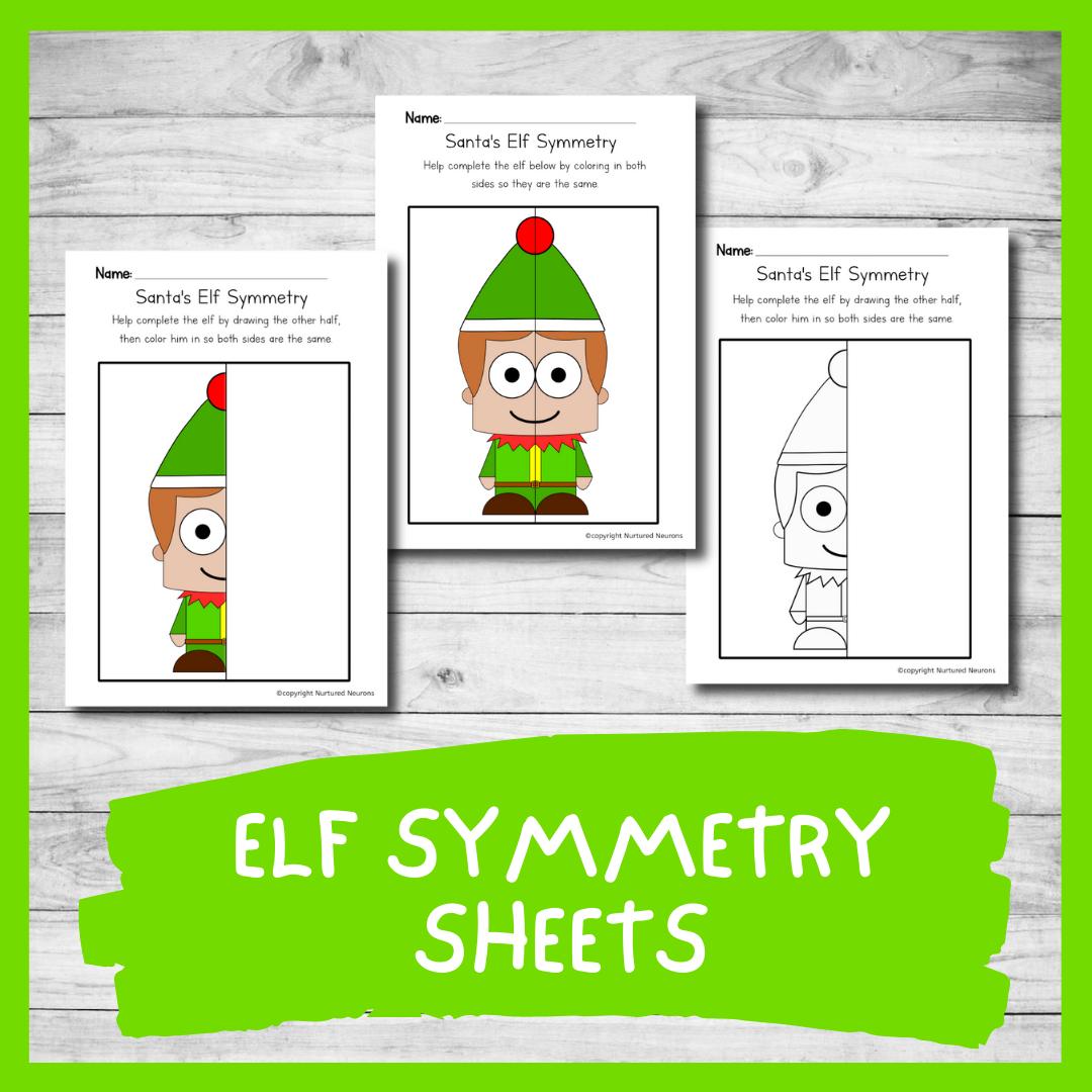 Elf symmetry worksheets - Christmas symmetry printable sheets