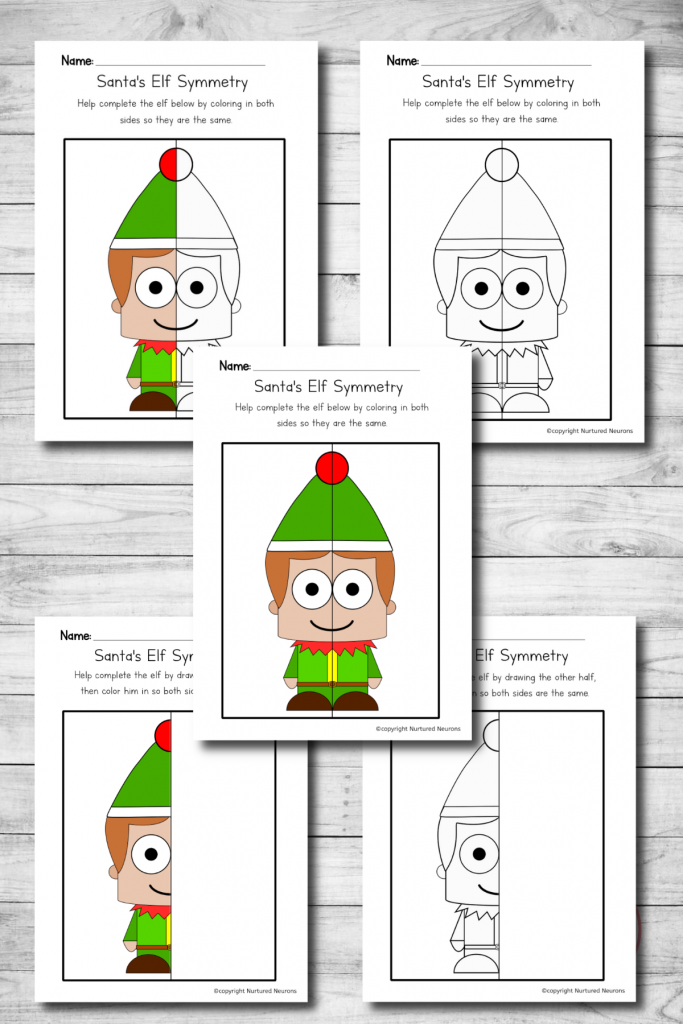 Elf symmetry worksheets - printable Christmas symmetry sheets