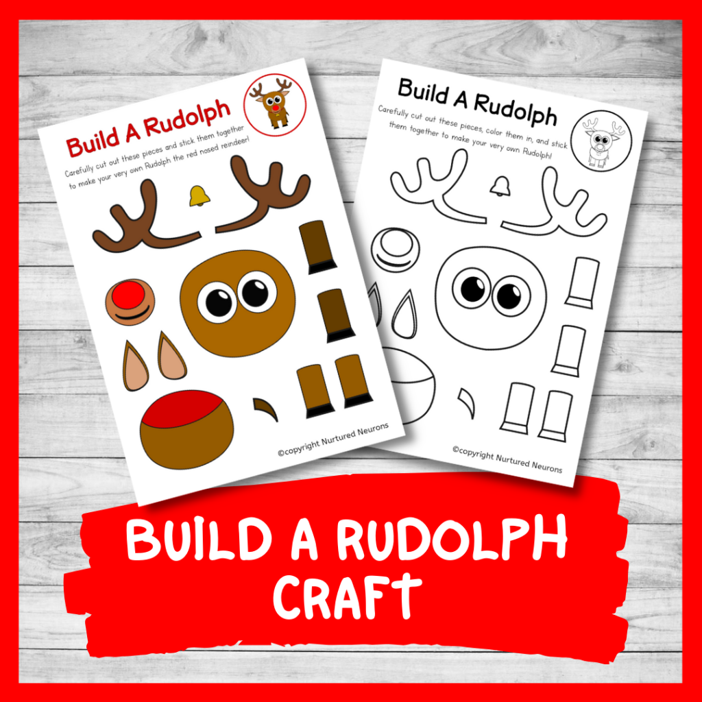 FREE PRINTABLE BUILD A Rudolph CRAFT for preschool