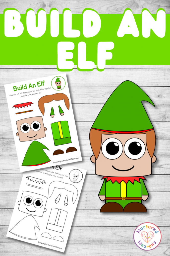 build an elf printable Christmas craft for preschool and toddlers