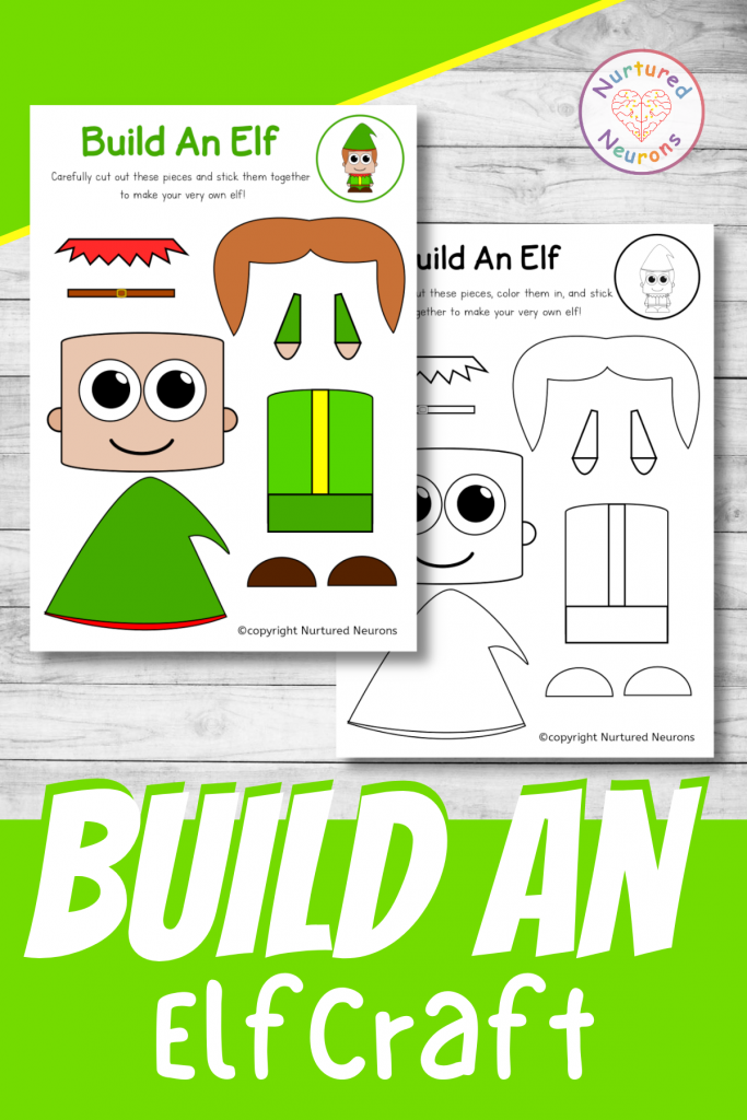 build an elf craft printable for preschool and toddlers