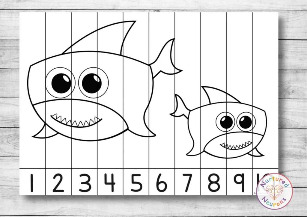 Baby Shark number ordering puzzle shark printable math game