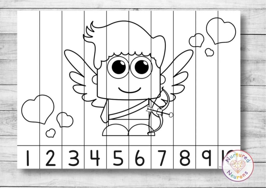 Valentine's Day Number Puzzle Printable cupid math game black and white