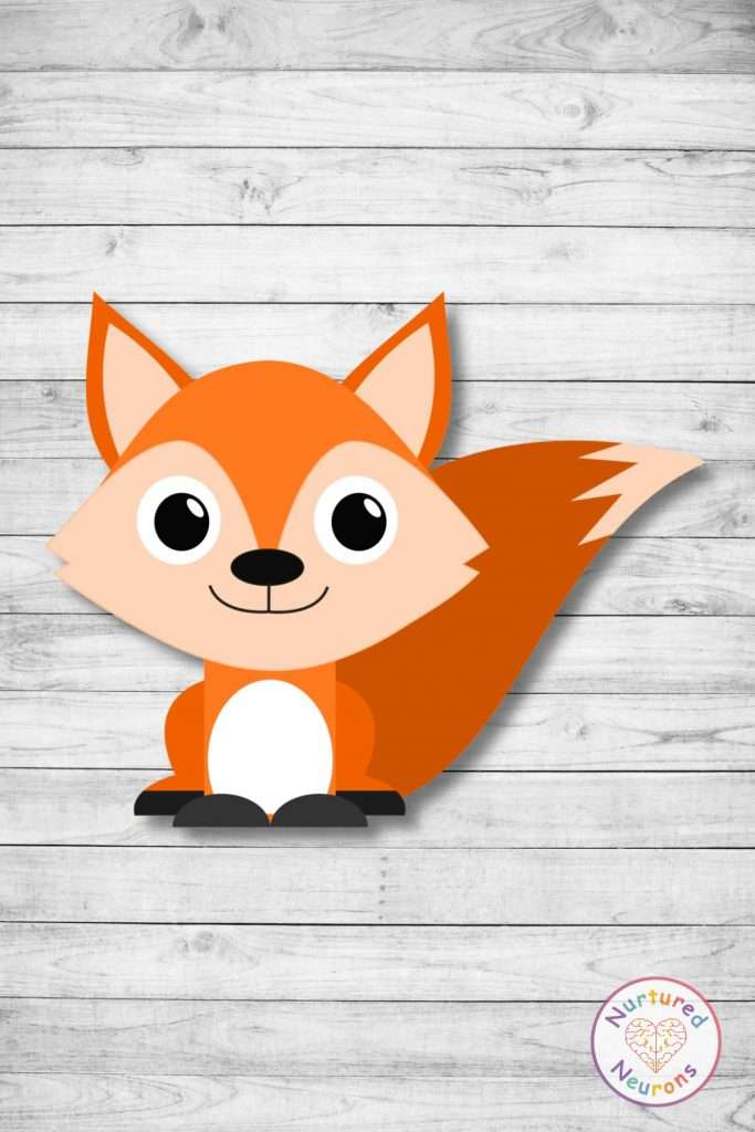 Free printable build a fox cut and paste craft templates forest theme