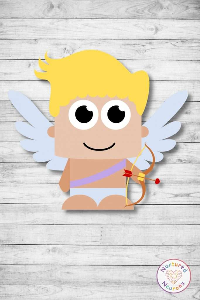 Free printable build a cupid cut and paste craft templates valentine's day