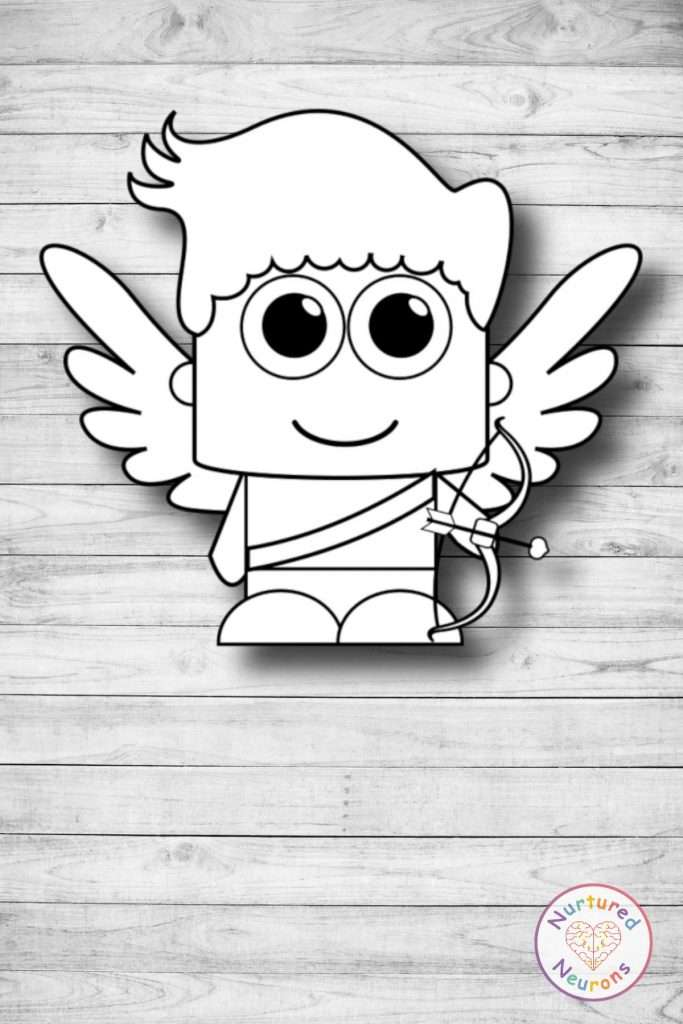 Free printable plain build a cupid cut and paste craft templates valentine's day