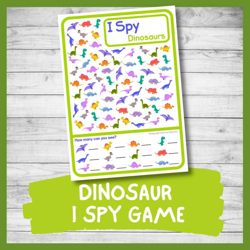 Dinosaur I spy game - printable ispy for preschool and kindergarten with counting dinos