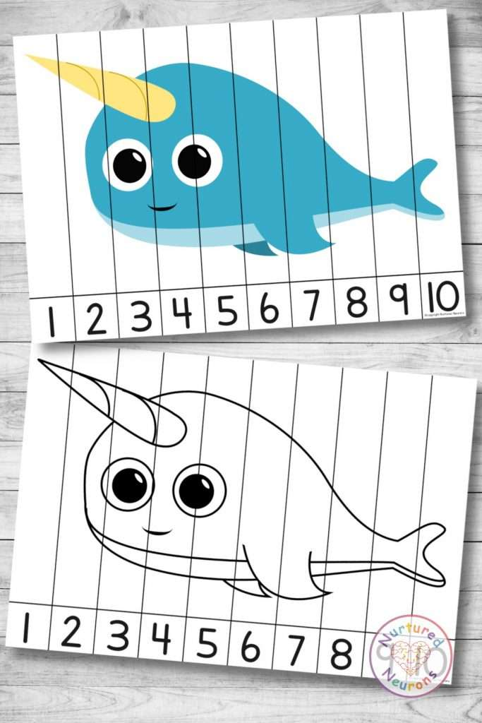 Narwhal Number Sequencing puzzle (preschool and kindergarten printable activity)