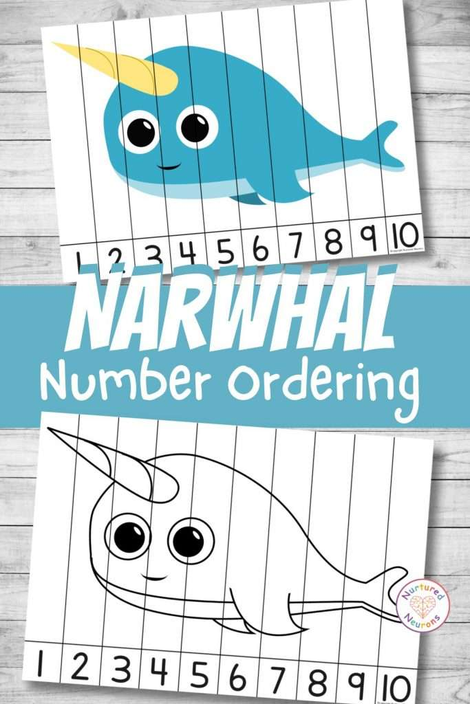 Narwhal number sequencing puzzle for preschool and kindergarten number ordering (1)