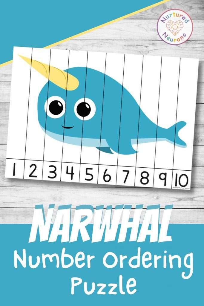 Narwhal number sequencing puzzle for preschool and kindergarten number ordering