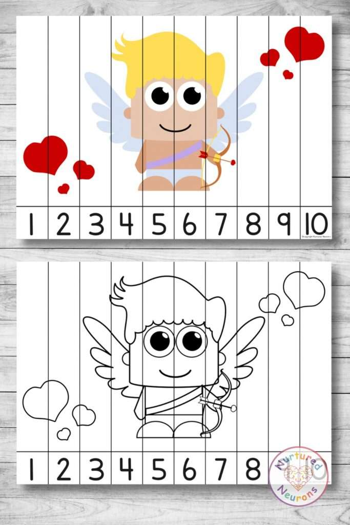 Printable Number Sequencing puzzle for Valentines day (preschool and kindergarten)