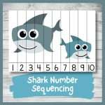 Cute Shark Number Sequencing Puzzle (Printable)