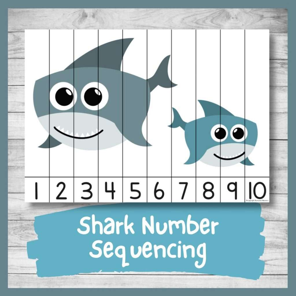 Shark Number ordering and number recognition puzzle (baby shark printable)