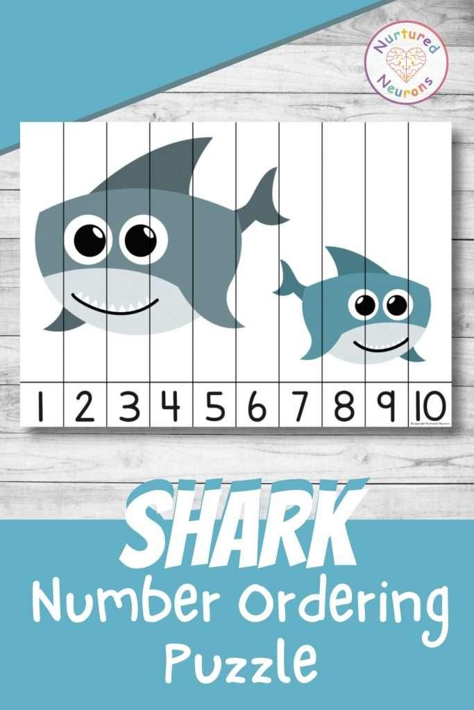 Shark number sequencing puzzle for preschool and kindergarten number ordering