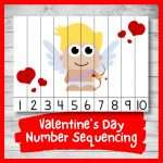 Valentine's Day Number Sequencing Puzzle (Printable)