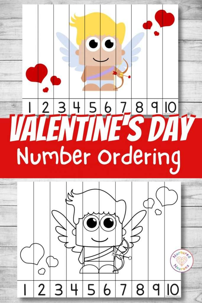 Valentines Day number sequencing puzzle for preschool and kindergarten number ordering (1)