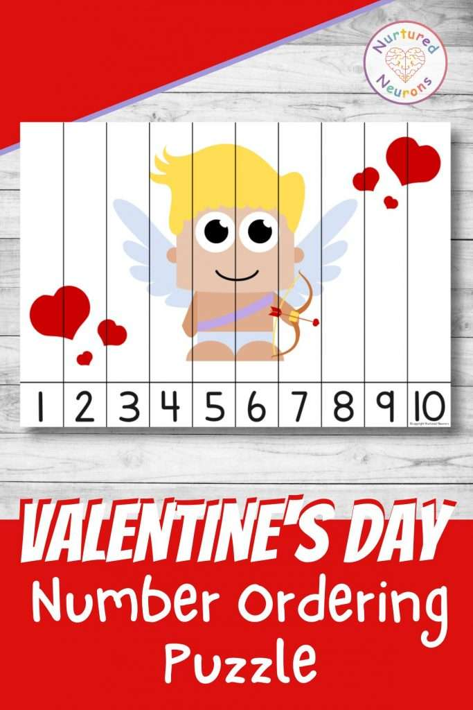 Valentines Day number sequencing puzzle for preschool and kindergarten number ordering