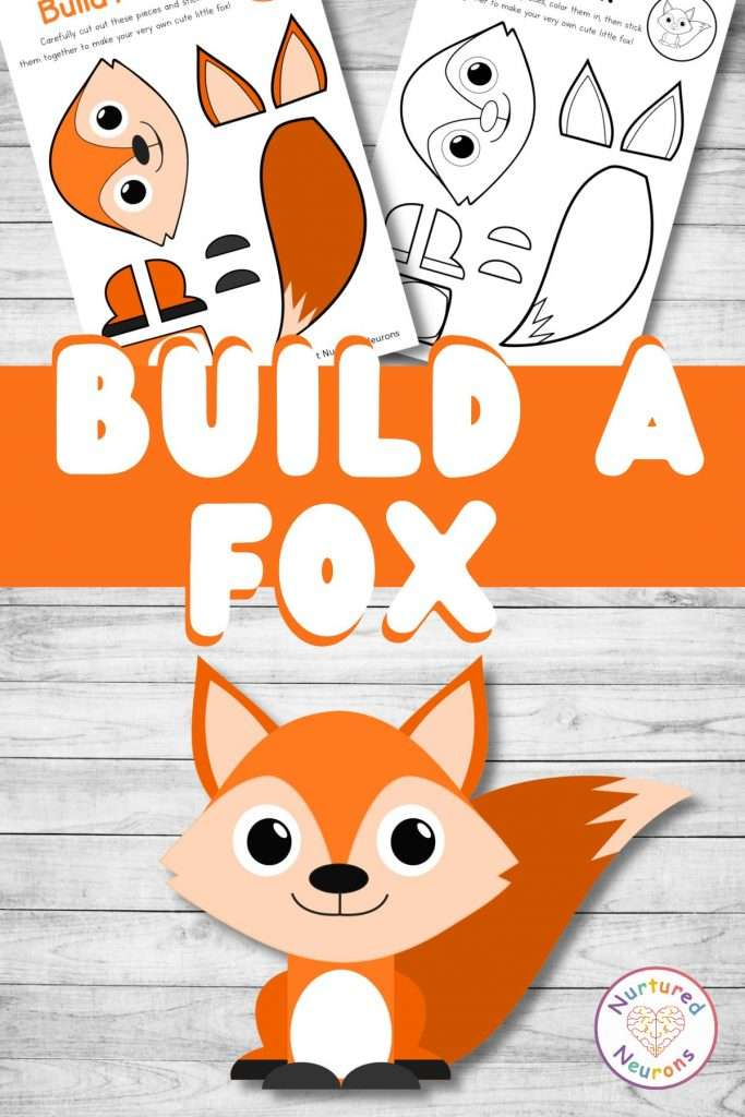 build a fox craft printable cute fox cut and paste for preschool and toddlers (1)