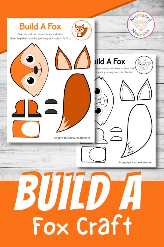 build a fox craft printable cute fox cut and paste for preschool and toddlers