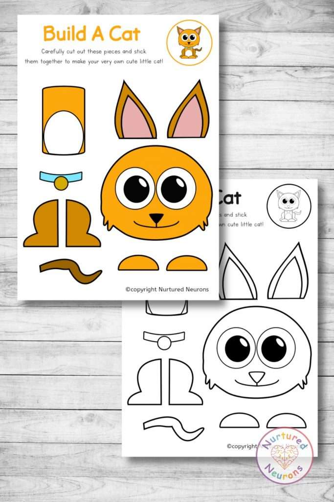 cute printable cat template - cut and paste craft (preschool download)