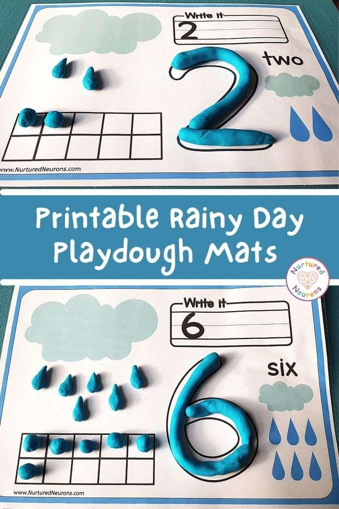 Raindrop Counting Printable Playdough mats (preschool playdough sheets)