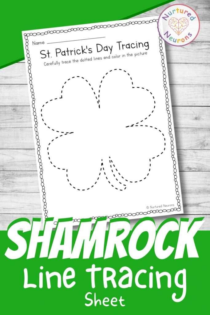 Line tracing worksheets for preschool - printable shamrock tracing page for preschool