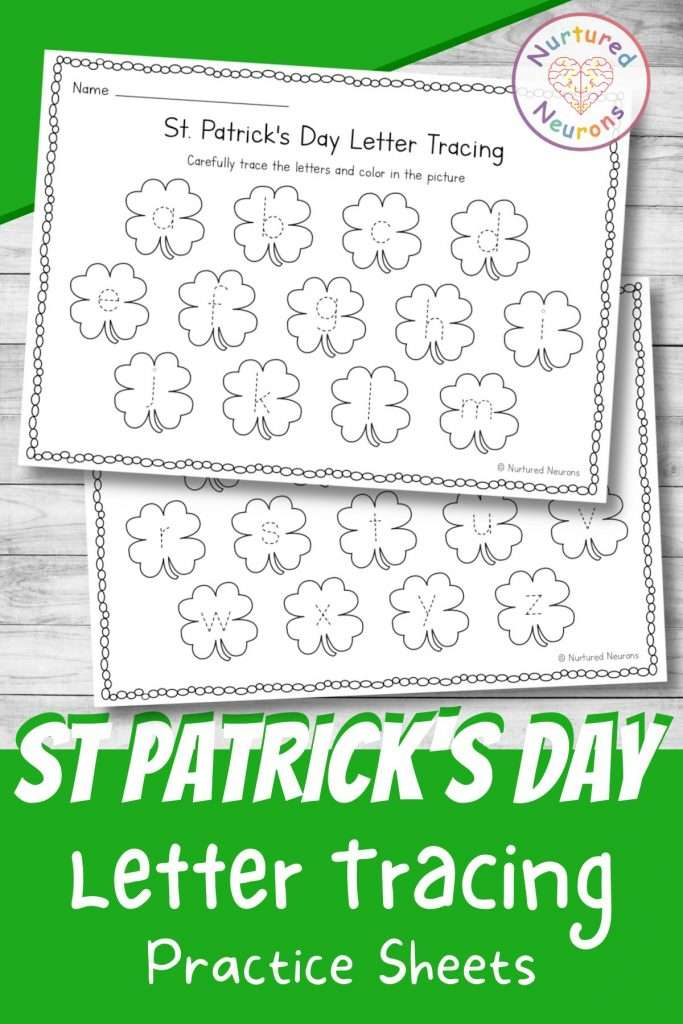 St Patrick's Day letter tracing worksheets for preschool - printable letter tracing page for kindergarten