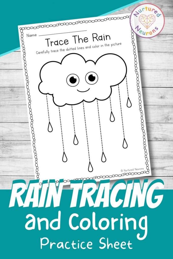 Cute rain line tracing worksheets for preschool - printable tracing page for kindergarten pdf