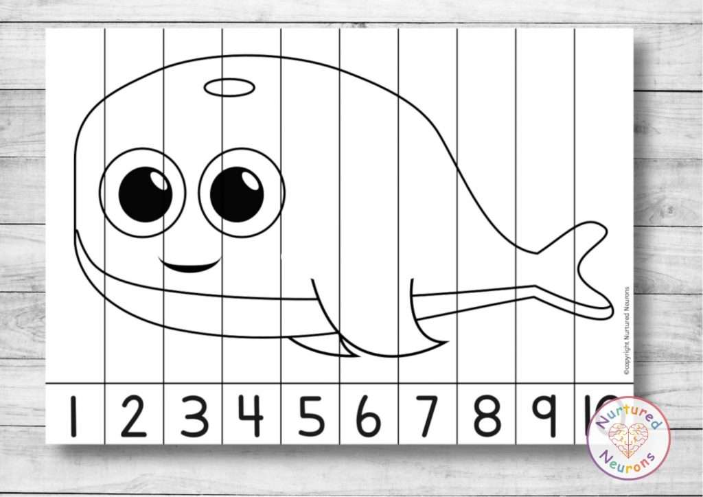 Cute Whale number ordering puzzle printable math worksheet for kids