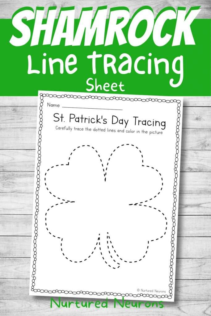 printable shamrock tracing and coloring page for preschool st Patrick's day