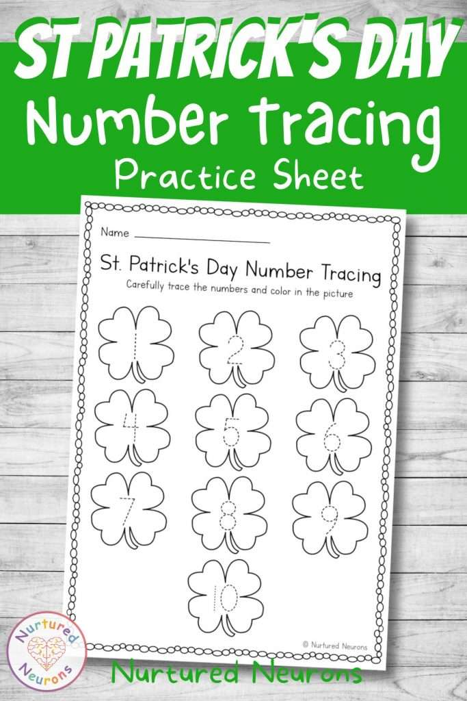Trace the numbers 1-10 for preschool and kindergarten St Patrick's Day themed worksheet