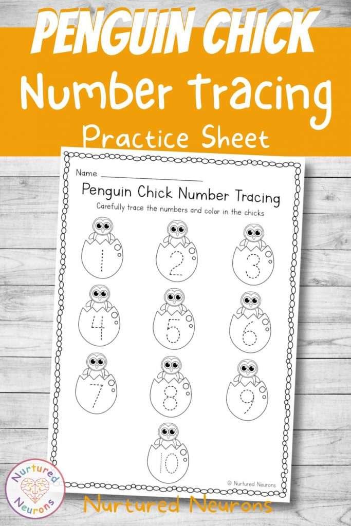 baby penguin number practice worksheet for kids