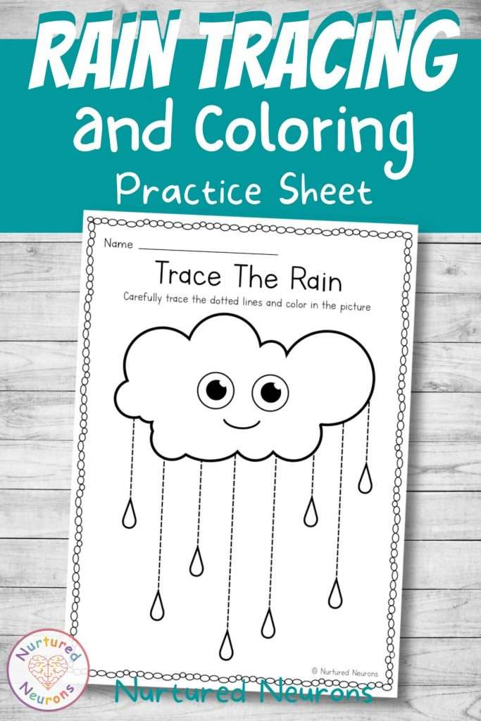 rain tracing worksheet for kids - line tracing pdf