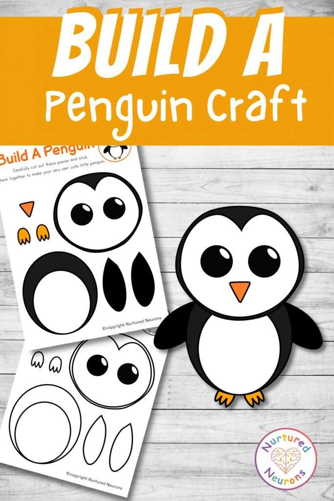 Make your own penguin craft -a printable cute penguin chick cut and paste activity for preschool and toddlers