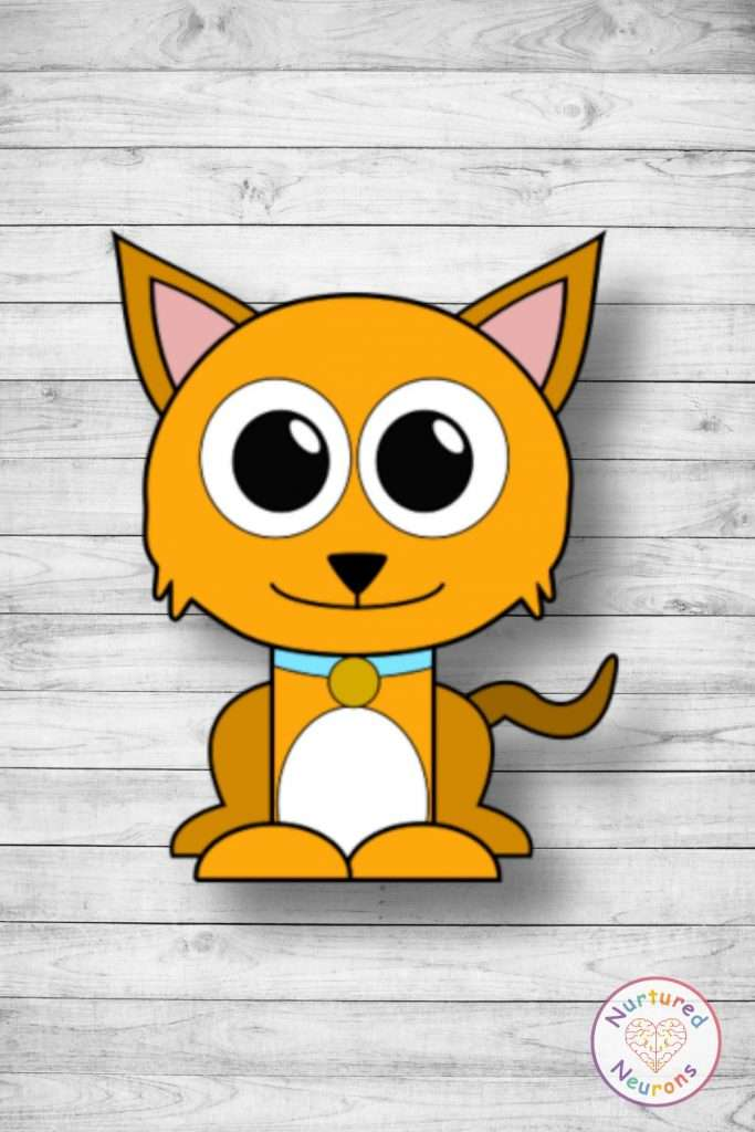 cute printable kitten template cut and paste craft (preschool download)