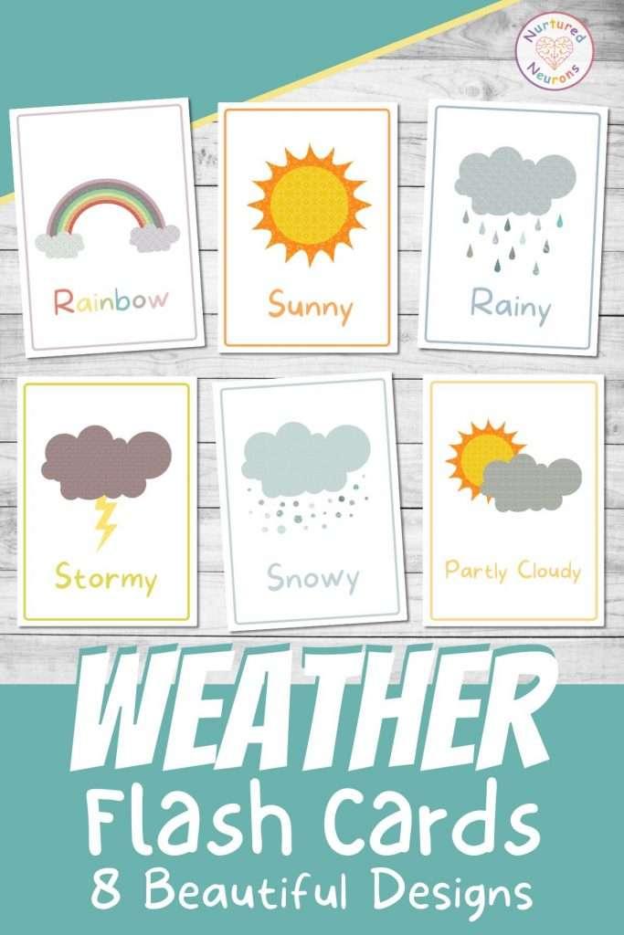 Beautiful weather flashcards for kindergarten preschool and toddlers