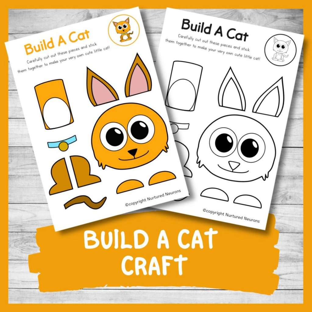 FREE PRINTABLE BUILD A cat CRAFT cute kitten cut and paste craft