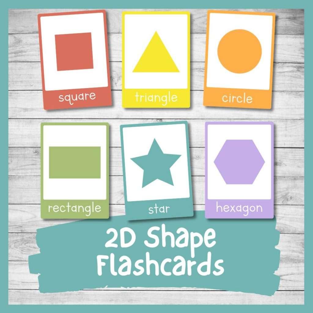 Free printable 2d shape flashcards for kindergarten preschool toddlers