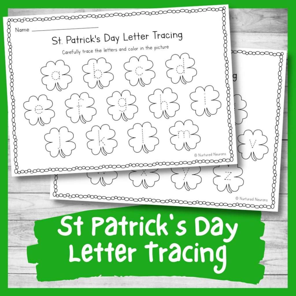 Letter tracing sheet - St Patrick's day preschool printable writing skills