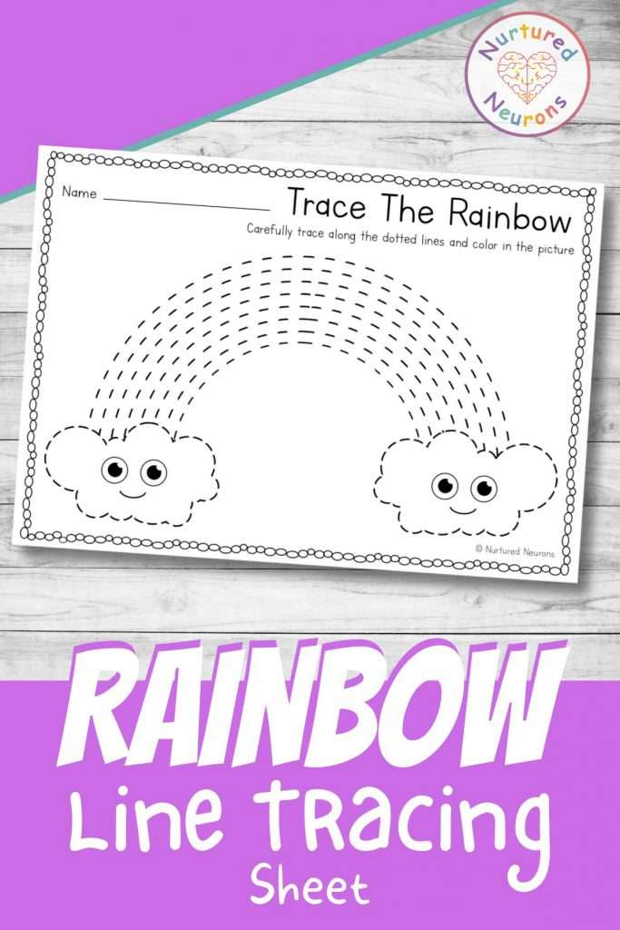 Line tracing worksheets for preschool - printable rainbow tracing